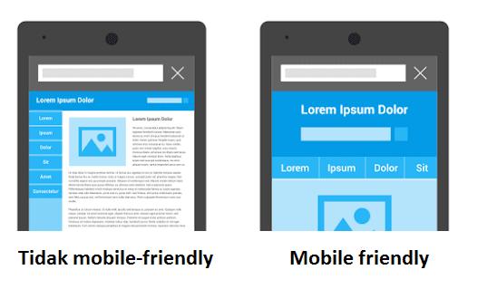 Perbedaan tampilan website mobile friendly dan tidak