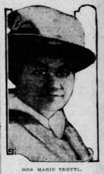 News clipping headshot of a youngish white woman wearing a tall, pale-colored hat