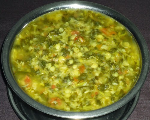boiled dal, leaves and tomatoes