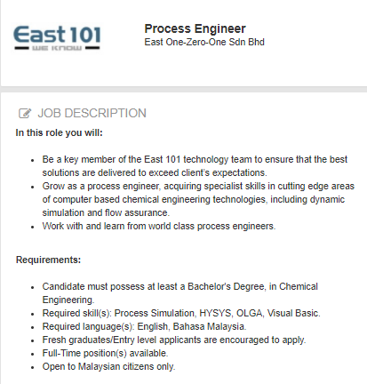 Oil &Gas Vacancies: Process Engineer -East One-Zero-On-Shah Alam