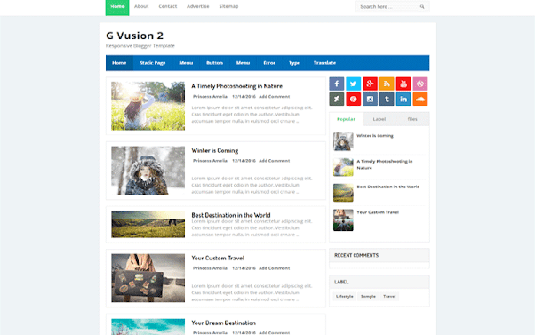 G Vusion 2 Free Blogger Template