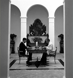 Cap Ferrat, France, 1954, English author Somerset Maugham (right) is pictured with his secretary-companion as they eat dinner at the Villa Mauresque