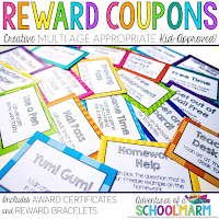 Your students will love these 40 unique reward coupons, and you will love how much money it saves you! These reward coupons focus on rewarding students with privileges that make them feel special, increasing intrinsic motivationand making your classroom run much more smoothly. // Adventures of a Schoolmarm