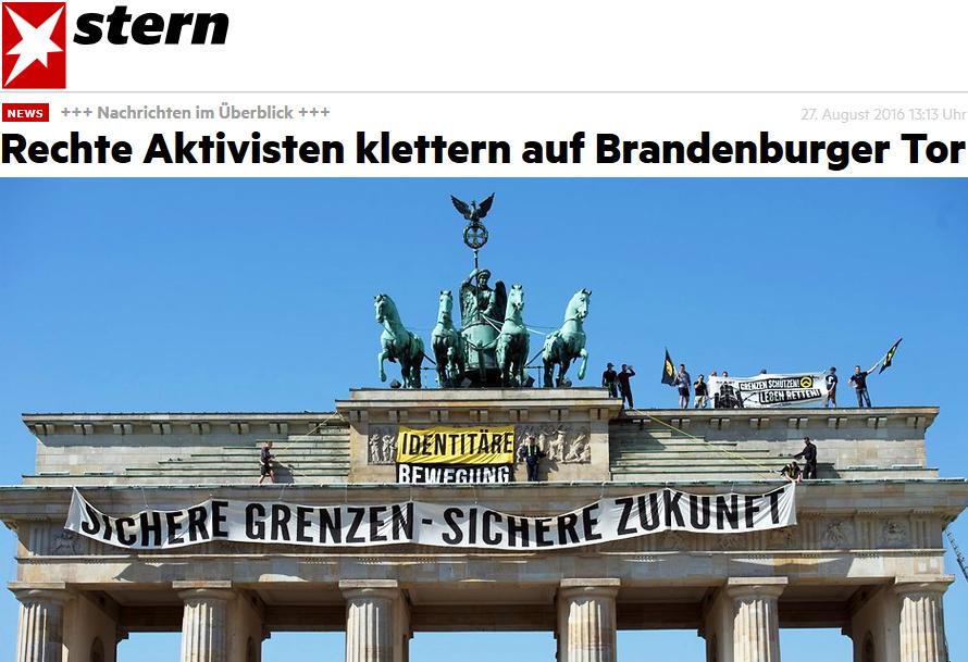 Rechte Aktivisten klettern auf Brandenburger Tor