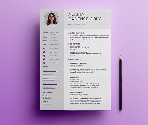Template Resume CV 2018 - Clean & Professional Resume With Cover Letter