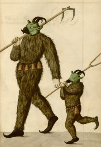 Illustration of adult and child in costume from Schembart Carnival in Neuremberg, 1590