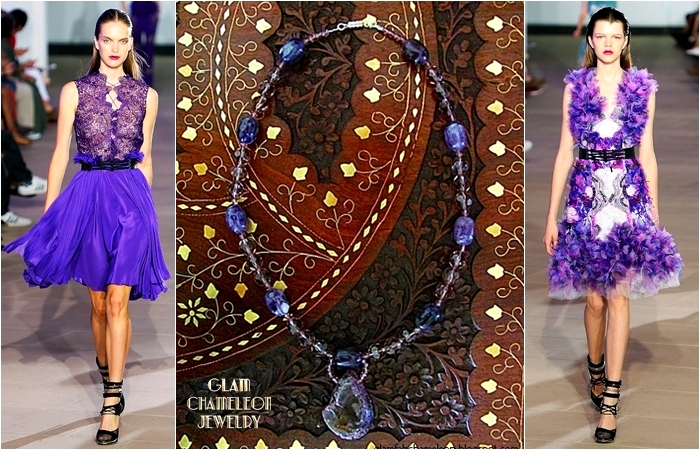 Glam Chameleon Jewelry amethyst purple agate and purple beads necklace
