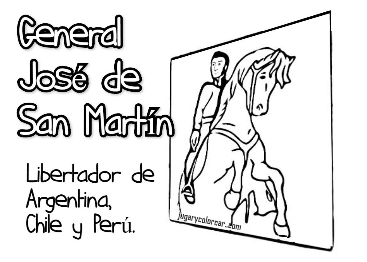 colorear José de San Martín