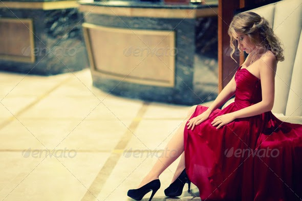 Young girl in red dress