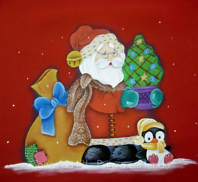 pintura em tecido papai noel com pinguim