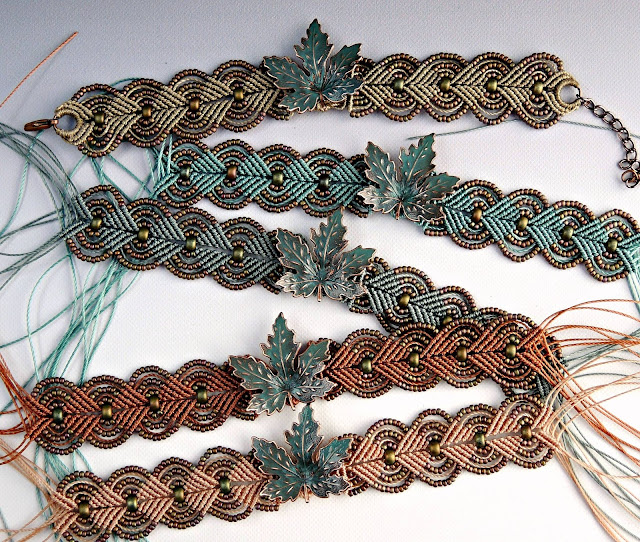 The colors of fall according to Sherri Stokey - featured in micro macrame bracelets.