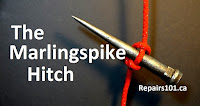 marlingspike hitch tied with red rope