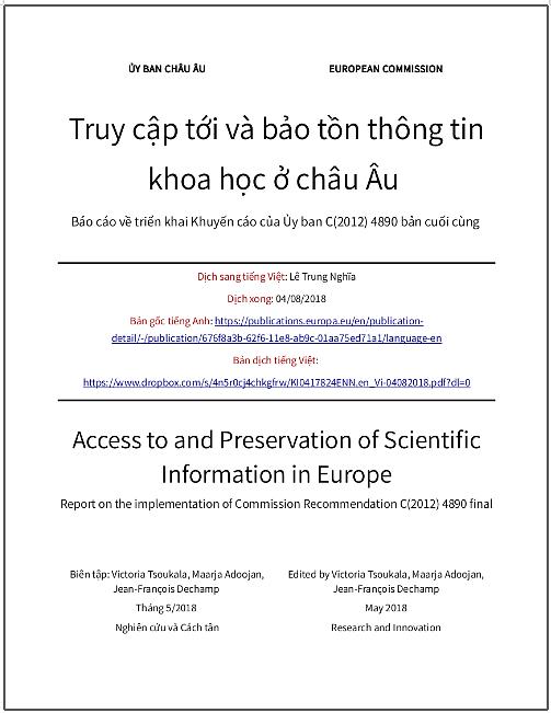 'Truy cập tới và bảo tồn thông tin khoa học ở châu Âu - Báo cáo về triển khai Khuyến cáo của Ủy ban C(2012) 4890 bản cuối cùng' - bản dịch sang tiếng Việt
