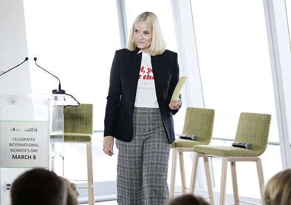 Crown Princess Mette-Marit wore Stella McCartney Stand Collar One Button Blazer, she wore Gianvito Rossi ankle boots, and she carried Prada bag