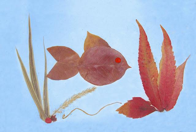 аппликация из осенних листьев: рыбка
