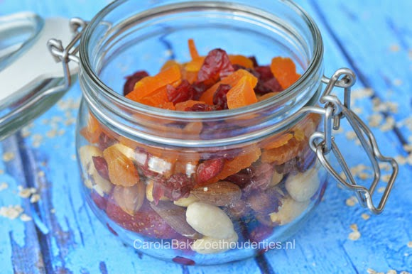 cranberry's en gedroogd fruit Overnight oats
