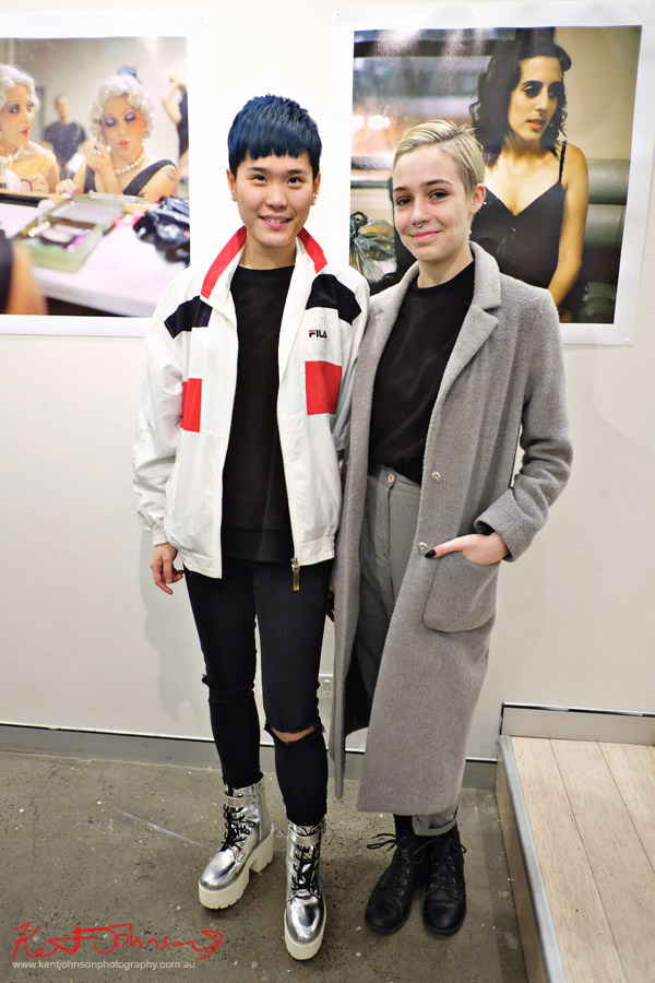 "Street Fashion Sydney - Two stylish young women at ""HER"" M2 gallery.. Photo by Kent Johnson."