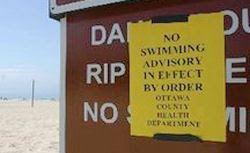no swim advisory sign