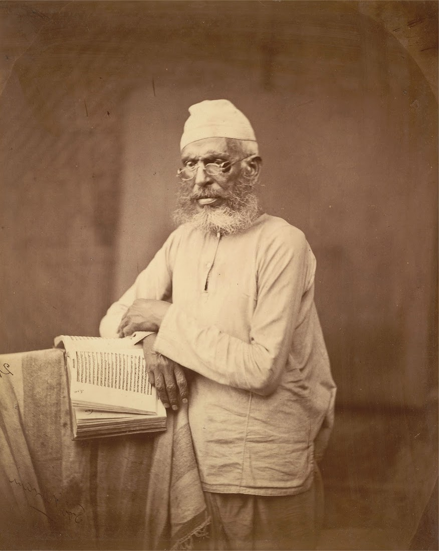 A Muslim Scholar posed with a Book - Eastern Bengal 1860's