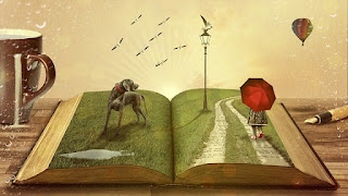 Open book filled with varied images like a dog, a girl with a red umbrella, and a hot air balloon