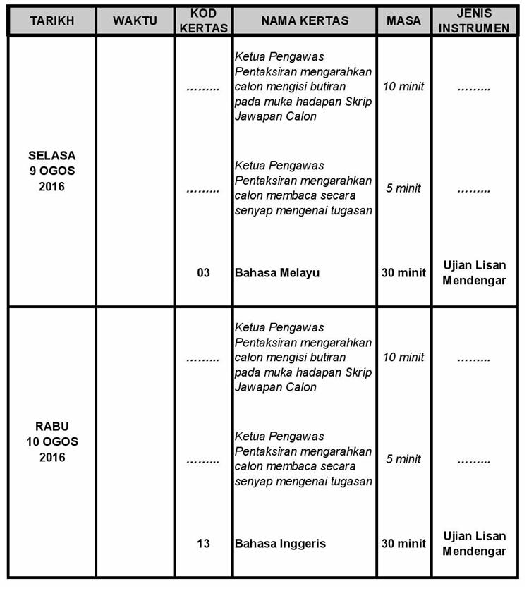 Jadual Waktu Peperiksaan PT3 Tahun 2016