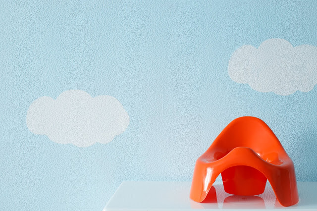 Orange potty in front of a cloudy background