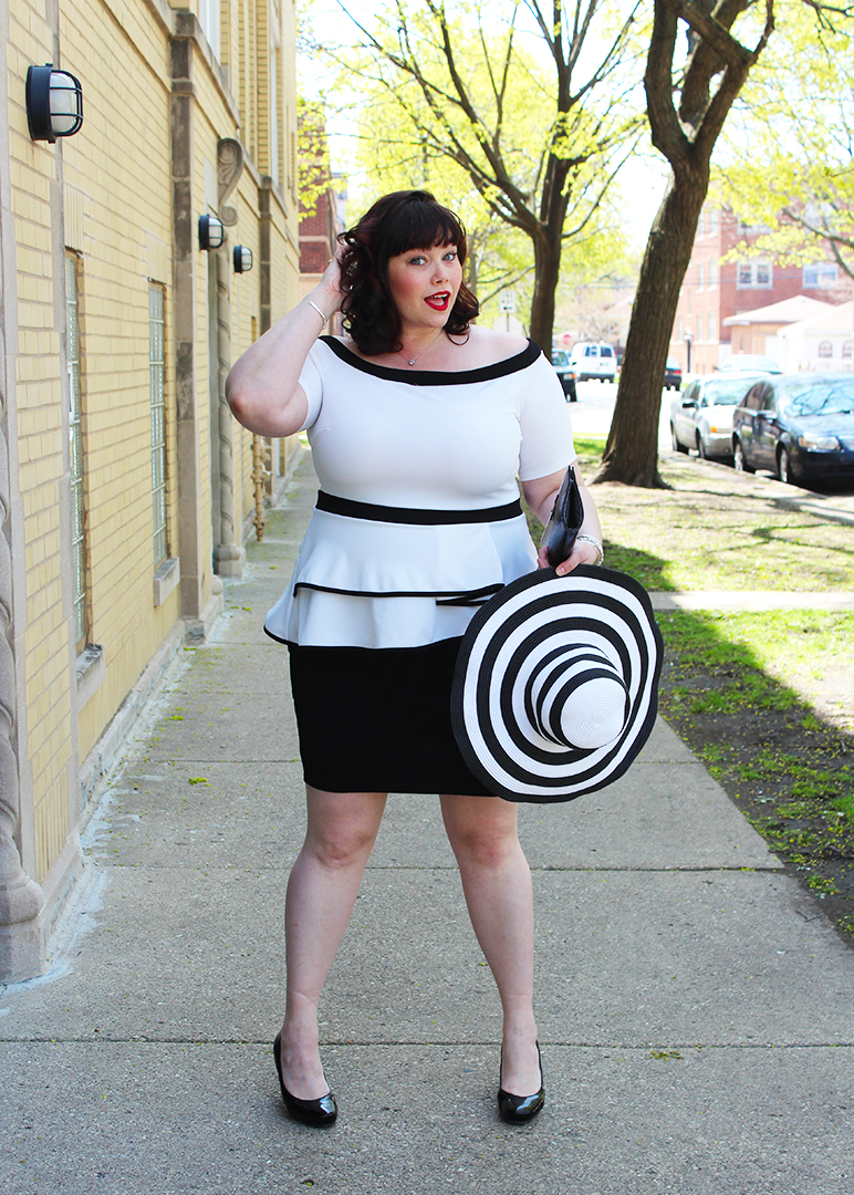Plus Size Blogger Amber from Style Plus Curves in an Off the Shoulder Black and White Plus Size Dress from Fashion to Figure through Fullbeauty.com