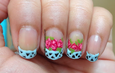 Rose Flower French Tip NailArt Tutorial..