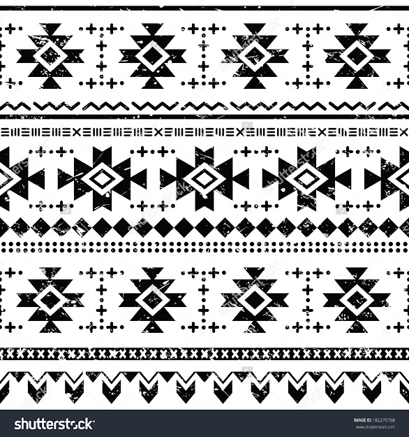 Tribal Aztec Vector Retro Seamless Pattern On White