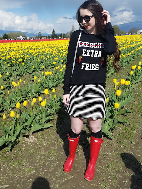 red Hunter boots with funny fries sweater and skirt