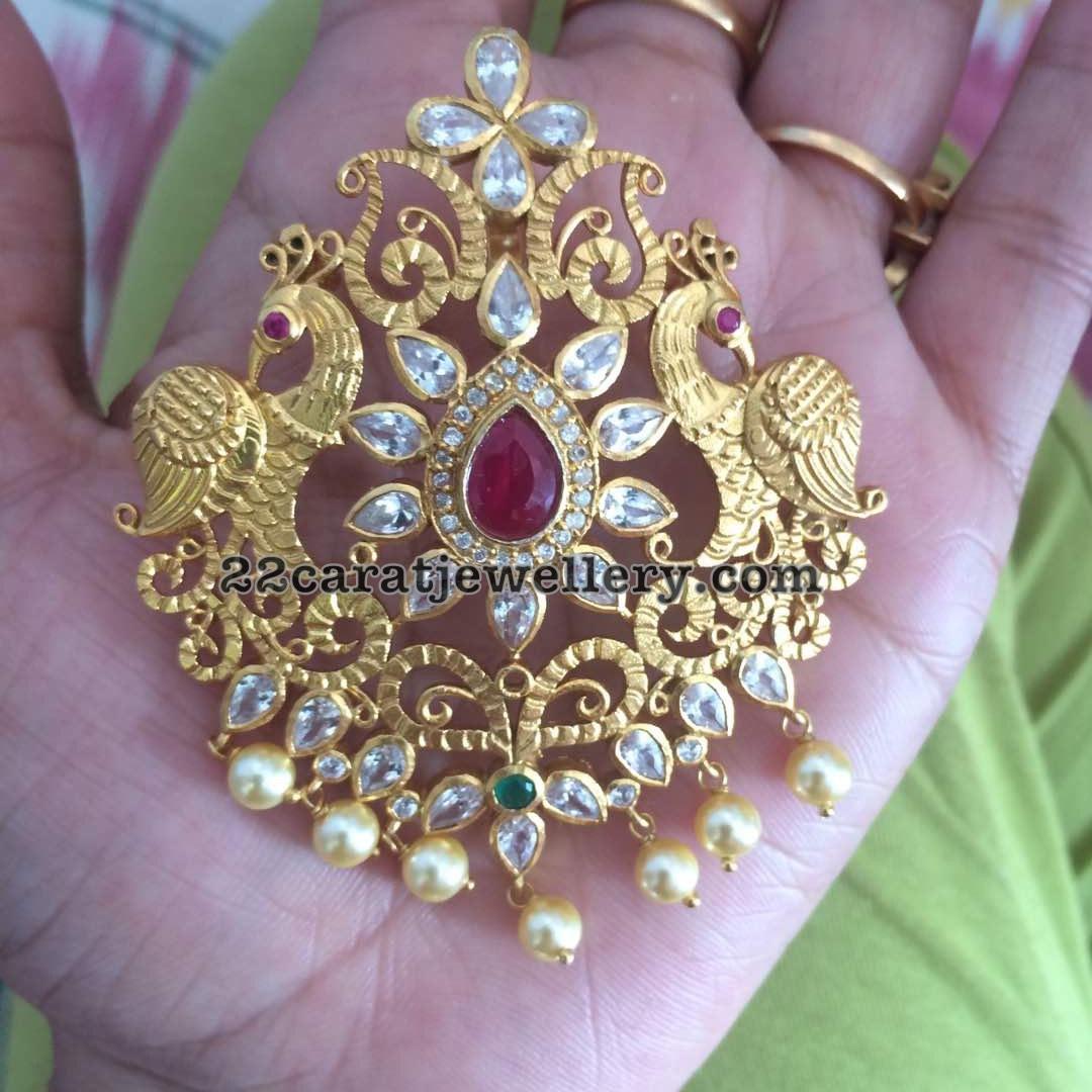 Silver Diamond Peacock Pendant