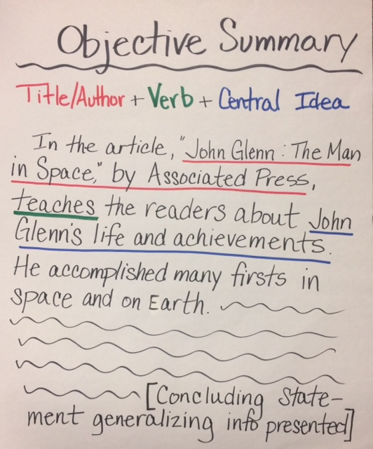 how to write an objective summary learning cafe