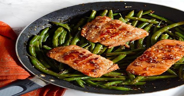 Sesame Glazed Salmon And Green Beans Recipe