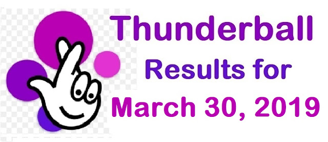Thunderball results for Saturday, 30 March 2019