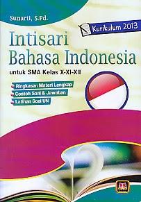 Judul : INTISARI BAHASA INDONESIA SMA X-XI-XII KURIKULUM 2013 Pengarang : Sunarti, S.Pd. Penerbit : Pustaka Setia