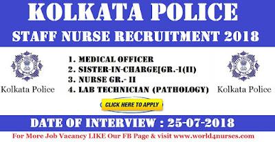 Kolkata Police Staff Nurse Recruitment 2018