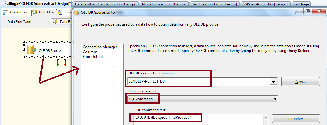 Microsoft SQL Server Knowledge Bank: SSIS OLE DB source with