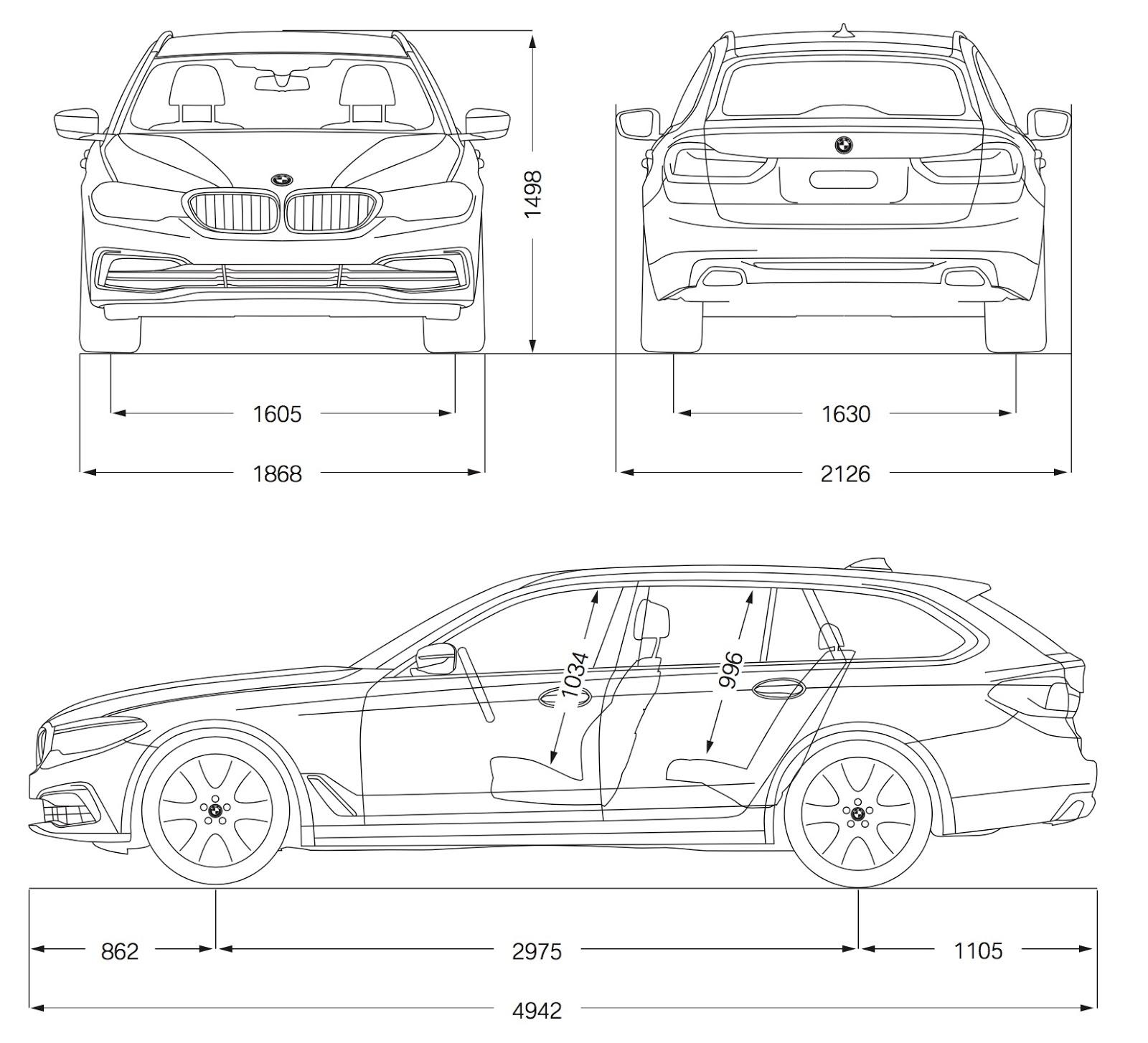 schema tecnico misure dimensioni bmw serie 5 touring 2017
