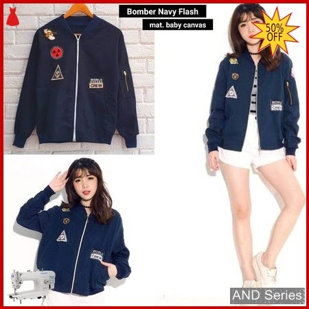 AND038 Jaket Wanita Bomber Biru Navy Flash BMGShop