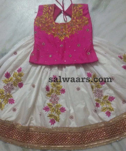 Heavy Floral Lehenga in White