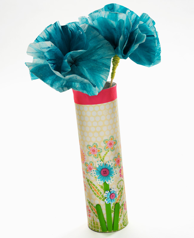 cathie filian kids craft paper flowers and a chip tube vase
