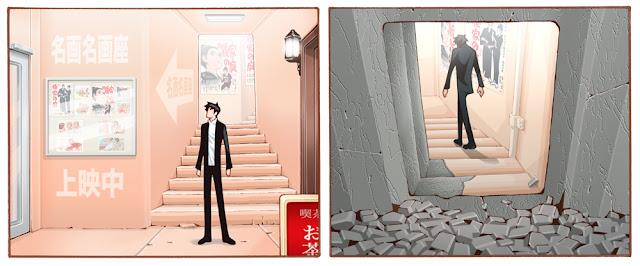 地下にある映画館の入り口を描いた絵