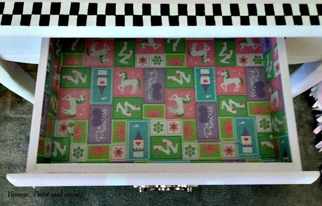 Vintage, Paint and more... drawer liner done with wrapping paper and mod podge