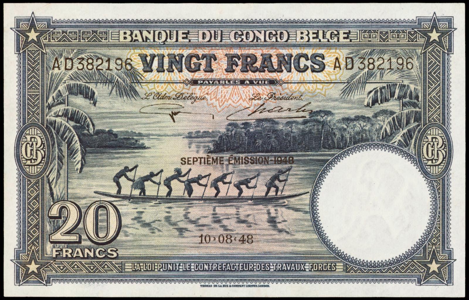 Belgian Congo banknotes 20 Francs