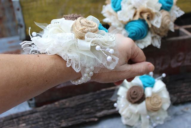 burlap wristlet corsages