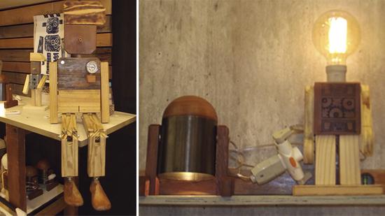 luminária de madeira, luminária robô, estúdio LG, a casa eh sua, craft design, decoração, decor