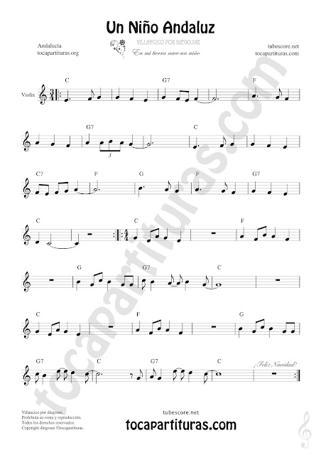 Violín Partitura de Un Niño Andaluz Sheet Music for Violin Music Scores Christmas Carol Song