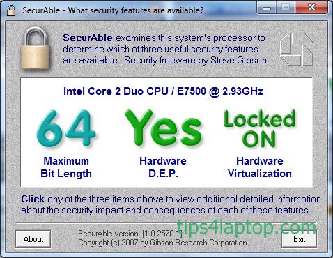 Securable-Menentukan apakah CPU Support 64bit
