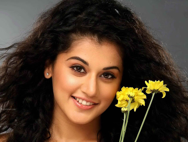 Taapsee With Flowers HD Wallpaper