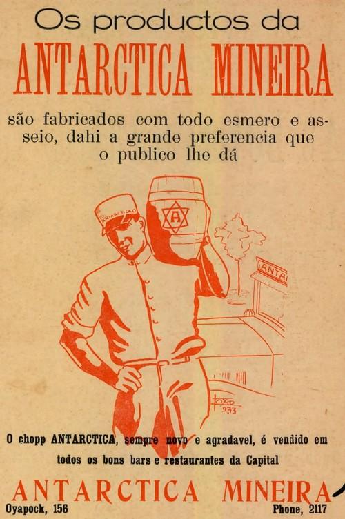 Propaganda da década de 30 do Chopp Antarctica com sua produção na cidade de Belo Horizonte